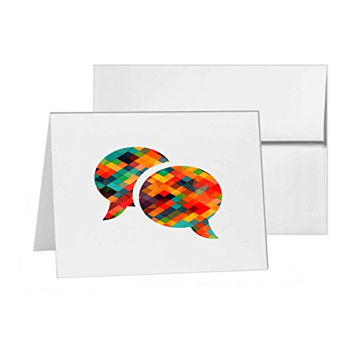 Chat Conversation Speech Bubble Talking, Blank Card Invitation Pack, 15 cards at 4x6, Blank with White Envelopes Style (Talking Bubble)