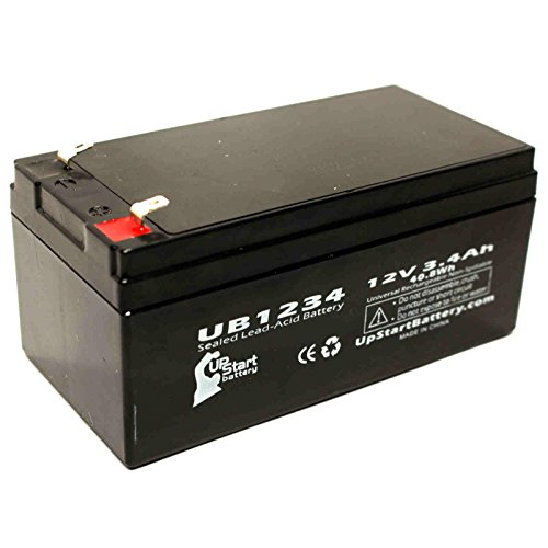 Replacement for B & B Battery BP3-12 Battery - Replacement UB1234 Universal Sealed Lead Acid Battery (12V, 3.4Ah, 3400mAh, F1 Terminal, AGM, SLA) - Includes Two F1 to F2 Terminal Adapters