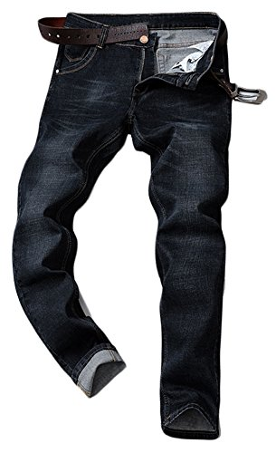 Plaid&Plain Men's Casual Basic Slim Fit Stretch Straight Fit Fashion Denim Jeans 108Black (Straight Fit Basic Jean)