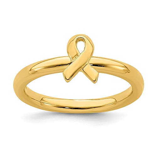 925 Sterling Silver Gold Plated Awareness Ribbon Band Ring Size 9.00 Stackable Fine Jewelry Gifts For Women For Her