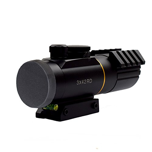 11 Reflex Sight - Twod Rifle Scope 3X42mm Red Dot Reflex Sight with 11mm/22mm Weaver Picatinny Mount Seven Brightness Settings
