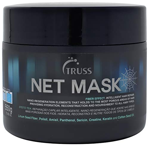TRUSS Net Mask - Intensive Repair Mask for Curly Hair & All Other Hair Types - Nano Protein Infused, Anti-Static Hair Mask, Reconstructor, Detangler, Anti-Frizz, Repairs Damaged Hair, Hydrates Curls (Hair Net Mask)