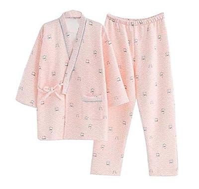 DRAGON SONIC Japanese Style Women Cotton Bathrobe Pajamas Kimono (Tops + Pants), B01