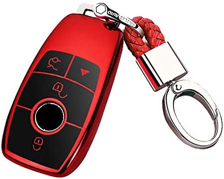 ontto for Mercedes Benz Smart Car Key Fob Case Cover with Keyring Remote Key Shell Holder Jacket Protector Fit for Benz E Class S Class W213 Blue