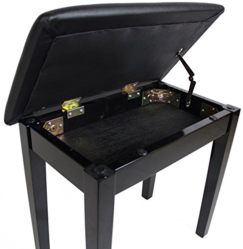 Barcelona Flip-Top Piano Bench - Black with High Gloss Finish
