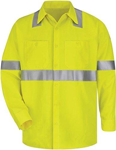 Bulwark Hi-Visibility Flame-Resistant Work Shirt-Long Sleeve, Men, SMW4HV, (Bulwark Hi Visibility)
