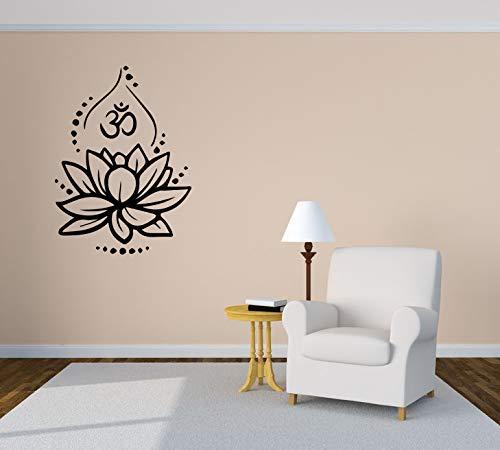 (Wall Sticker Yoga Floral Ornament Lotus Harmony Om Meditation Vinyl Mural Decal Art Decor)