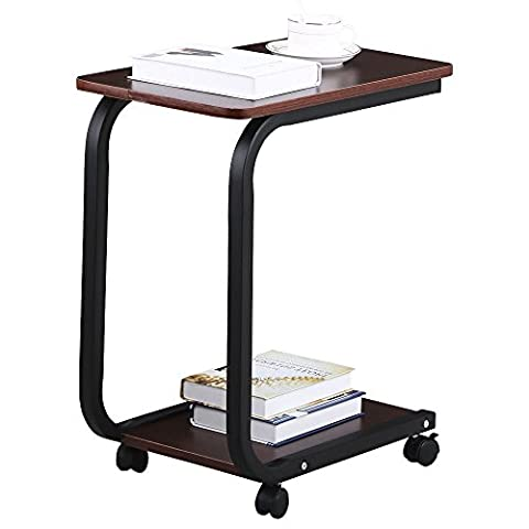 Eight24hours 2 Tier Coffee Sofa Side End Snack Tray Table Cart Rolling Over Bed Laptop Table