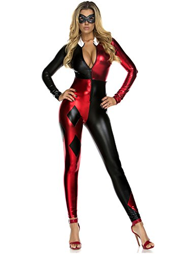 Harley Quinn Costumes For Women (Forplay Women's Jazzy Jester, Red, Medium/Large)