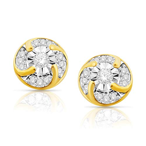 10K Yellow Gold Stud Earrings w/Pinwheel Set Round Diamond - 1/4 Carat