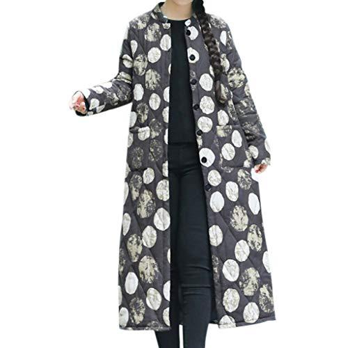 Clearance MatureGirl Women Folk-Custom Cotton Linen Dot Print Buttons Pockets Long Coat Parka Outwear Oversize Coat (Black, Large)