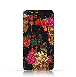 Huawei Honor 4X TPU Silicone Case with Skull and Flowers Seamless Pattern Design