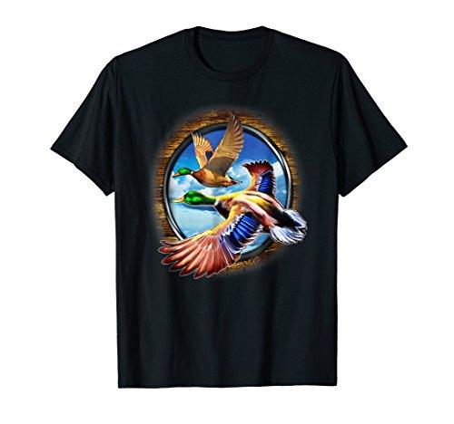 Flying Duck Design - Art Design Duck Hunting Gift T-Shirt. Flying Ducks Image.