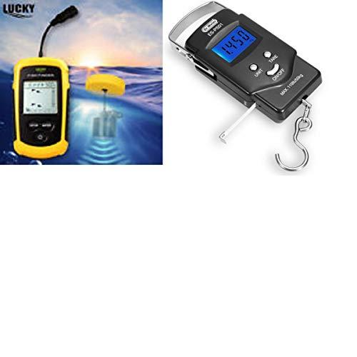 (LUCKY Portable Fish Finder + Dr. Meter Backlit LCD Display 110lb/50kg Electronic Digital Fishing)