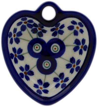 - Polish Pottery 3-inch Heart Shaped Bowl (Flowering Peacock Theme) + Certificate of Authenticity