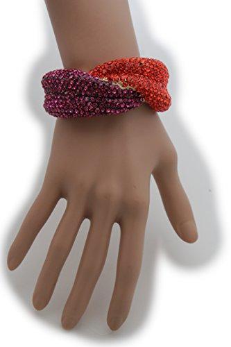 Madonna School Of Fashion And Costume Design - TFJ Women Fashion Jewelry Gold Metal Cuff Bracelet Red Purple Rhinestones Lips