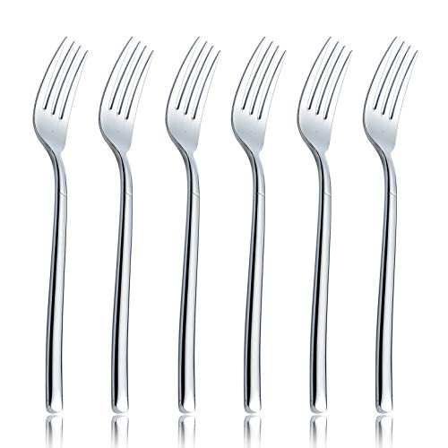 OMGard Dinner Fork Sets 6 Piece 18/10 Stainless Steel Flatware 8.5-inch Salad Table Forks Only Service for 6 Extra Heavy Weight Silverware Eating Utensils Cutlery Dishwasher Safe 6/Case ()
