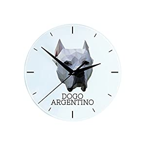 Dogo Argentino, Wall Clock with an Image of a Dog, Geometric 4