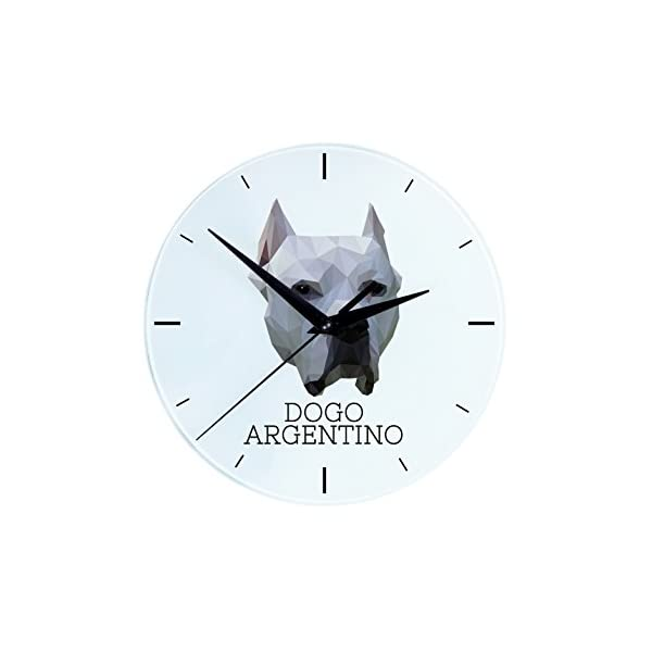 Dogo Argentino, Wall Clock with an Image of a Dog, Geometric 1