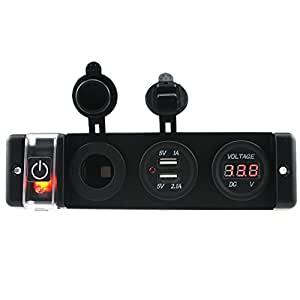 12V/ 24V Lighter Socket LED Panel Dual USB Charger Voltmeter Car Boat
