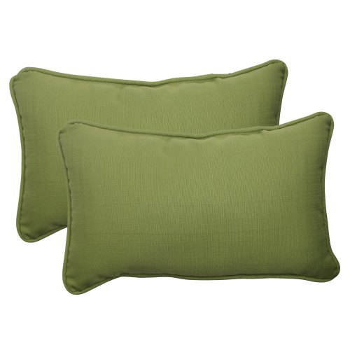 Pillow Perfect Indoor/Outdoor Forsyth Corded Rectangular Throw Pillow, Green, Set of 2 (Rectangular Outdoor Pillows)