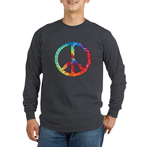 (CafePress Tie Dye Rainbow Peace Sign Long Sleeve Dark T Shir Unisex Cotton Long Sleeve T-Shirt)