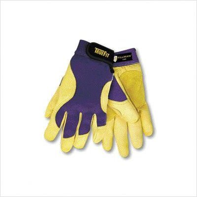 John Tillman and Co 1480L TrueFit Premium Full Finger Top Grain Deerskin and Spandex Mechanics Gloves with Elastic Cuff, Large, Blue/Gold by John Tillman and Co
