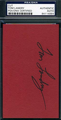 TOM LANDRY PSA DNA Coa Autograph 3x5 Index Card Hand Signed Authentic