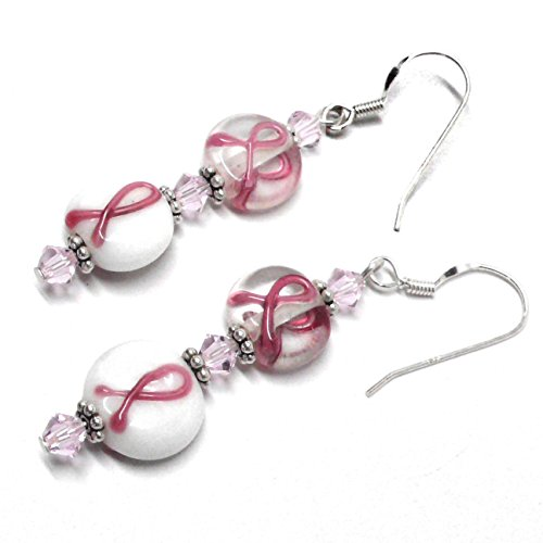 Pink Ribbon Double Crystals - Pink Ribbon Earrings Lamp Work Glass Double Bead Sterling Silver