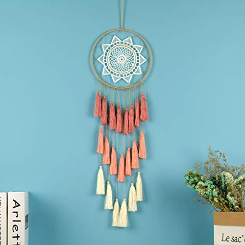 reamcatcher Wind Chimes Tassel Pendant Big Dream Catcher Home Wall Hanging Decor Regalo Amor054 Red Gradual ()