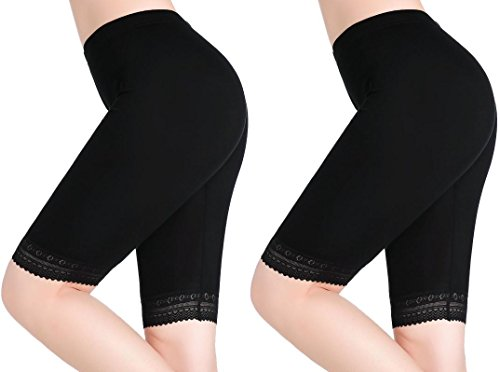 Microfiber Shorts Lace (CnlanRow Women Under Skirt Pants Soft Stretch Knee Leggings Fitness Shorts Lace Tights)
