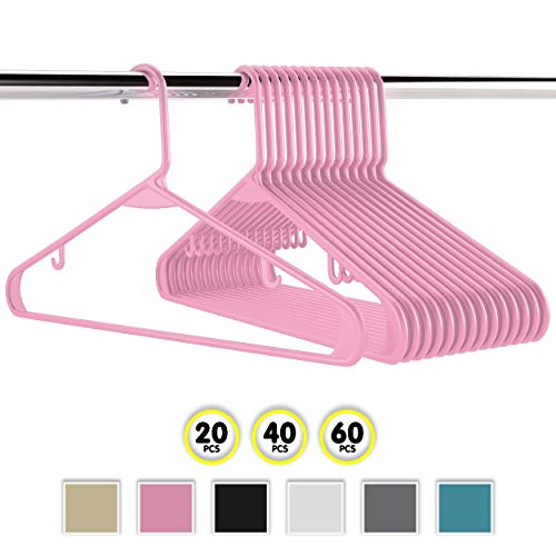 (Neaterize Plastic Clothes Hangers| Heavy Duty Durable Coat and Clothes Hangers | Vibrant Colors Adult Hangers | Lightweight Space Saving Laundry Hangers | 20, 40, 60 Available (20 Pack - Pink))