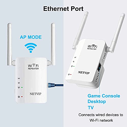 NETVIP WiFi Extender WiFi Booster WiFi Range Extender 300Mbps 2.4GHz,AP/Repeater Mode With Dual External Antennas Amplifier Wifi Range Extender Wifi Repeater Universal Comply With 802.11n/g/b - White