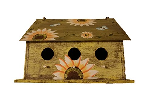 Sunflower Birdhouse - Wooden Birdhouses - WIDE - Birdhouses For Outside - Birdhouses Decorative - Colorful Birdhouse - Chickadee Birdhouse - Finch Birdhouse - Wren Birdhouse - Painted Birdhouse