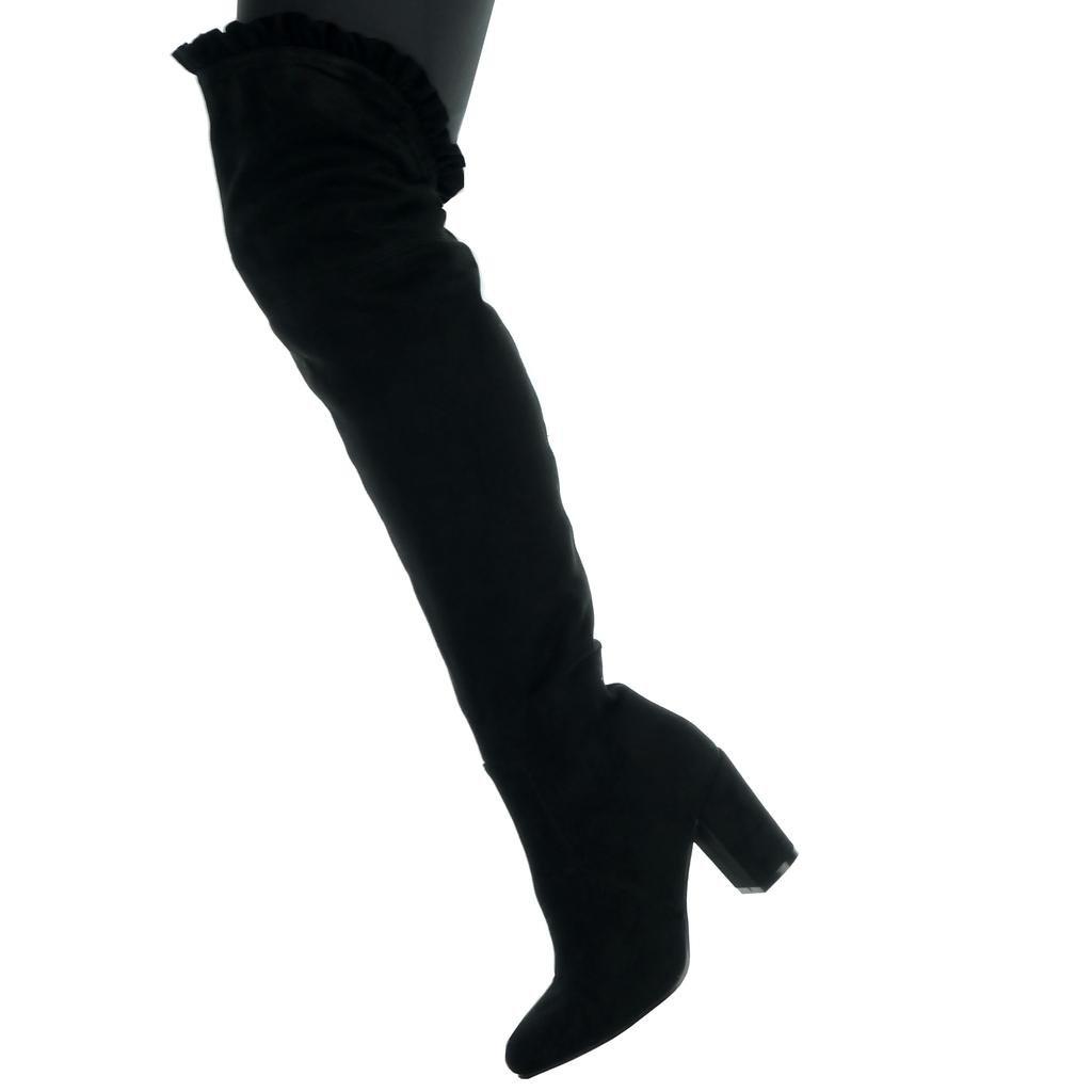 Angkorly Damen Damen Angkorly Schuhe Oberschenkel-Boot - Reitstiefel - Kavalier - Sexy - Flexible Blockabsatz High Heel 8 cm Schwarz 6d164d