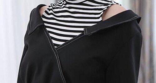 Jaycargogo Haut Des Femmes Robe À Manches Longues Crayon Épaule Froide Cou Noir