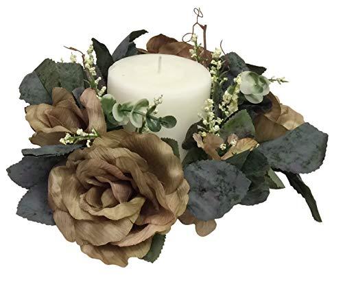 - Ella and Lulu Dessign Set of 2 Antiqued Victorian Candlerings Floral Arrangement, One Size, Sage