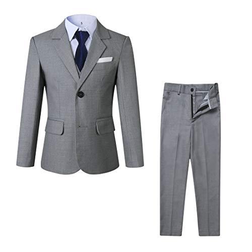 Kretenier 5 Piece Boys' Formal Suit Set with Jacket Vest Pants Dress Shirt and NectTie (Navy Necktie, ()