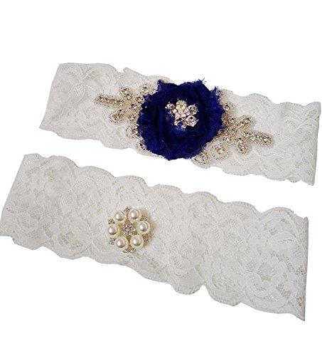Fankeshi Rhinestones Lace Pearl Bridal Garter Set Wedding Garters Belt 2pc (M, Navy (Pearls And Lace Bridal)