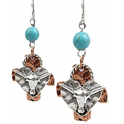 Cowgirl Western Jewelry Fish Hook Earrings Copper Silver Tone