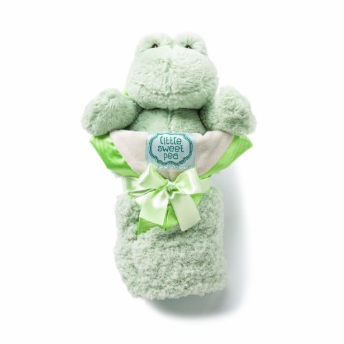 kathy ireland Plush and Blanket Set, Sage Frog