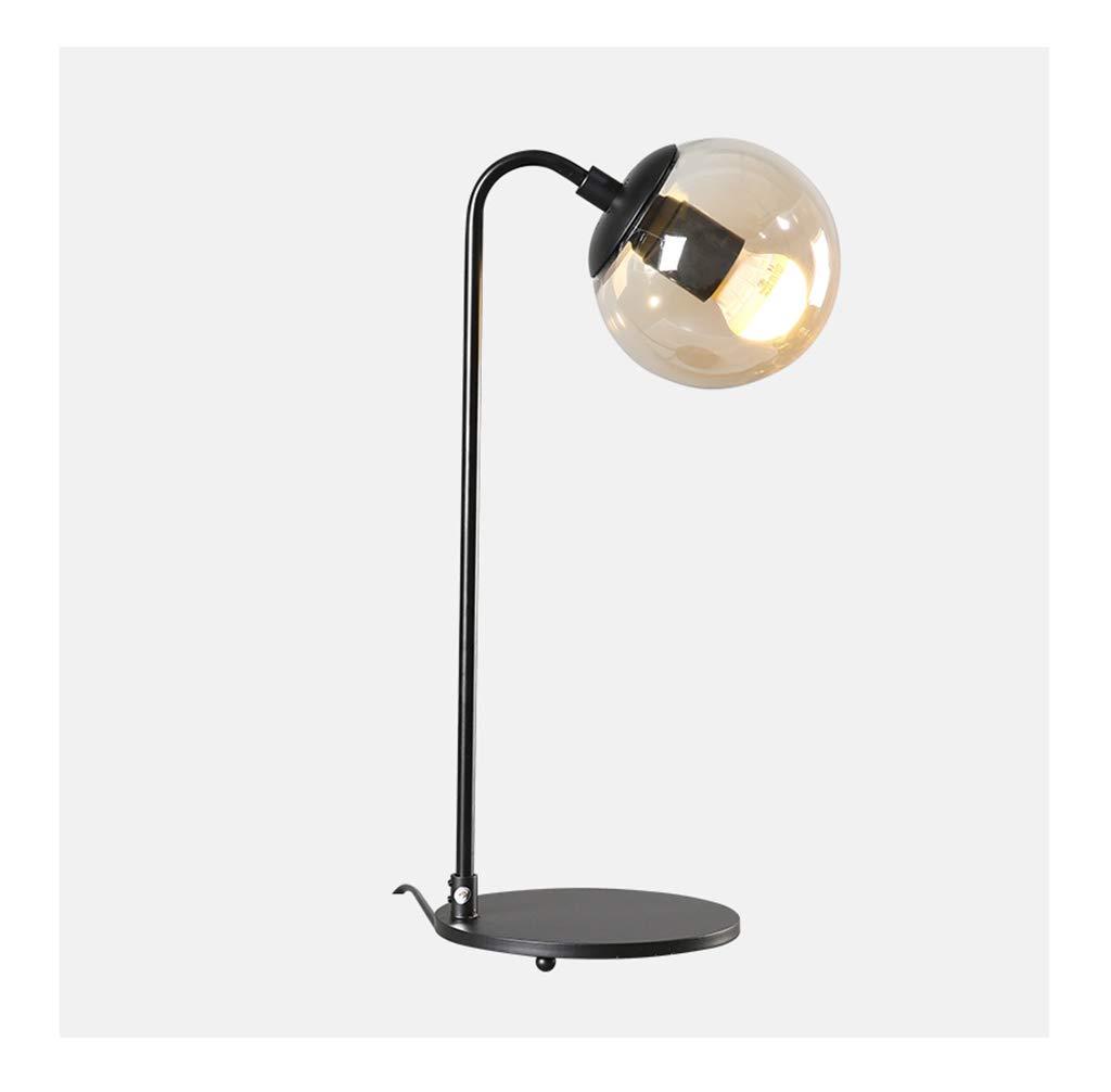 JUNBON Tischlampe amerikanisches Glas Schmiedeeisen Schlafzimmer Nachttischlampe