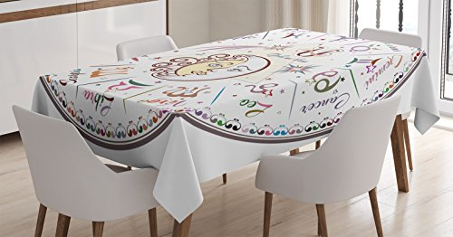 Ambesonne Zodiac Decor Tablecloth, Western Chart with All Signs Aries Virgo Leo Taurus Libra Mystique Fate Calendar, Dining Room Kitchen Rectangular Table Cover, 52 W X 70 L Inches, Multi