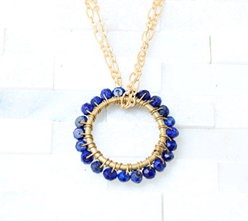 September Birthstone Circle pendant necklace goldtone Blue Lapis