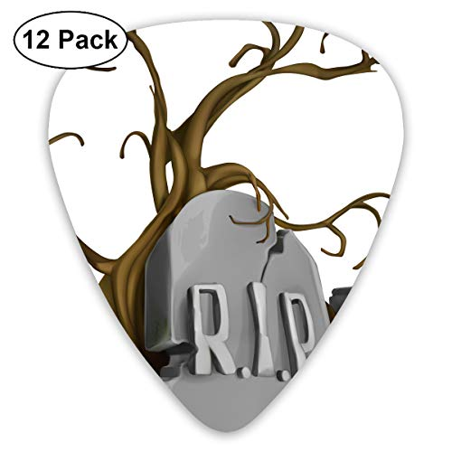 Halloween Rip Tombstones Signs Ultra Light 0.46 Medium 0.73 Heavy 0.96mm Printed Round Flat Soft Plastic Jazz Electric Acoustic Bass Guitar Pick Accessories Variety -
