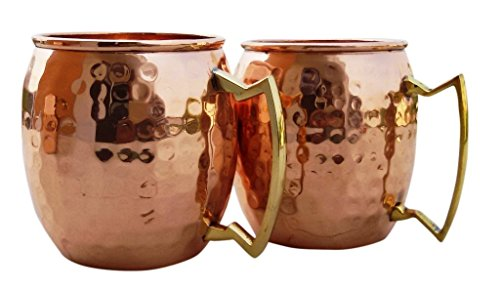 Moscow Mule Solid Pure Copper Hammered 16 Ounce Brown by TOUCHWOOD STUDIO by Touchwood studio