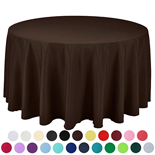 VEEYOO 120 inch Round Solid Polyester Tablecloth for Wedding Restaurant Party, Chocolate