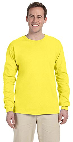 Fruit of the Loom Adult 5 oz. Long-Sleeve T-Shirt, YELLOW, XL