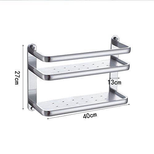 XY Soap dish Thick Space Aluminum Kitchen Shelf Wall Hanging Seasoning Rack Kitchen Supplies Storage Rack Double Pendant 2 Layer 27cm 40cm 13cm by XY Soap dish (Image #1)