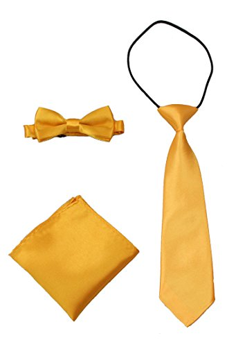 GUCHOL Bow Tie Pocket Cloth Necktie 3 Style Set Solid Adjustable Size Boys Collection (Yellow)